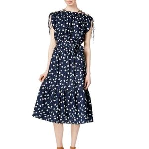 Maison Jules print fit & flare dress navy printed